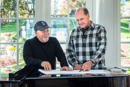 Billy Joel and Jeffrey Colle Working together at the Hamptons